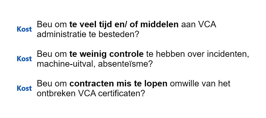 VCA Cost Administratie Controle Incidenten Certificaten Website