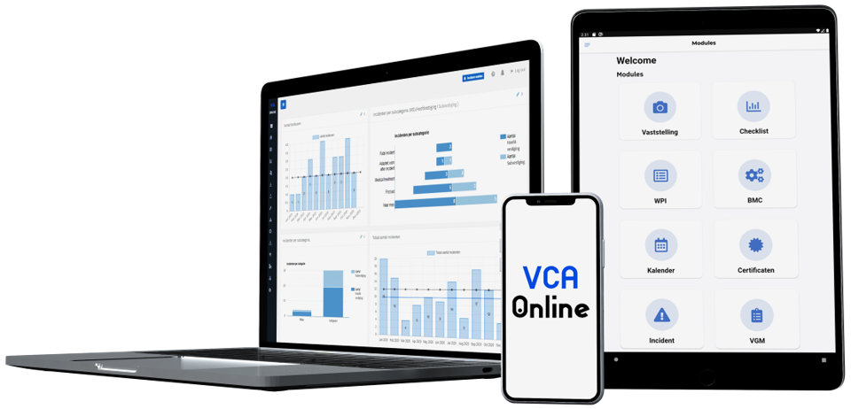 VCA-Online preview dashboard laptop homescreen tablet & smartphone