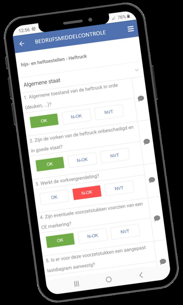 VCA-Online preview bedrijfsmiddelencontrole checklist app smartphone