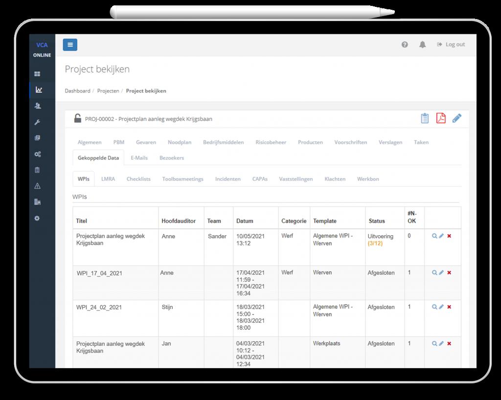 VCA-Online preview projectplan tablet