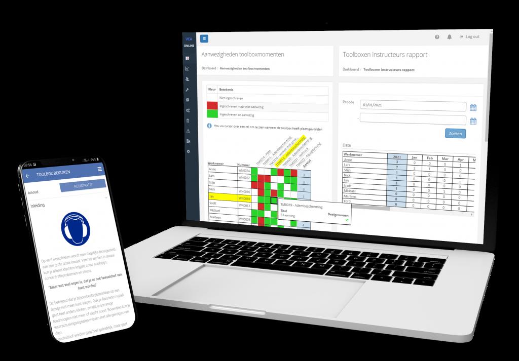 VCA-Online preview laptop dashboard toolboxen & toolbox op app smartphone