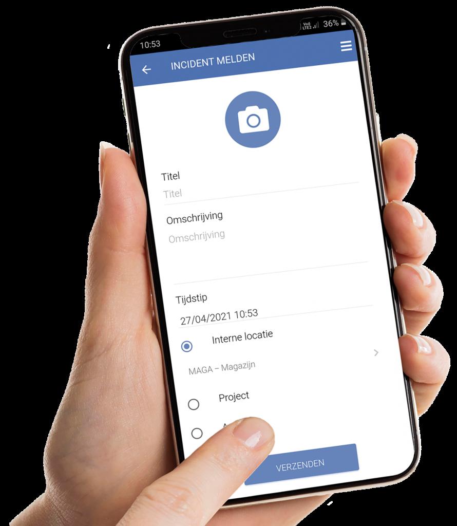 vca-online incidentmelding schuin in hand