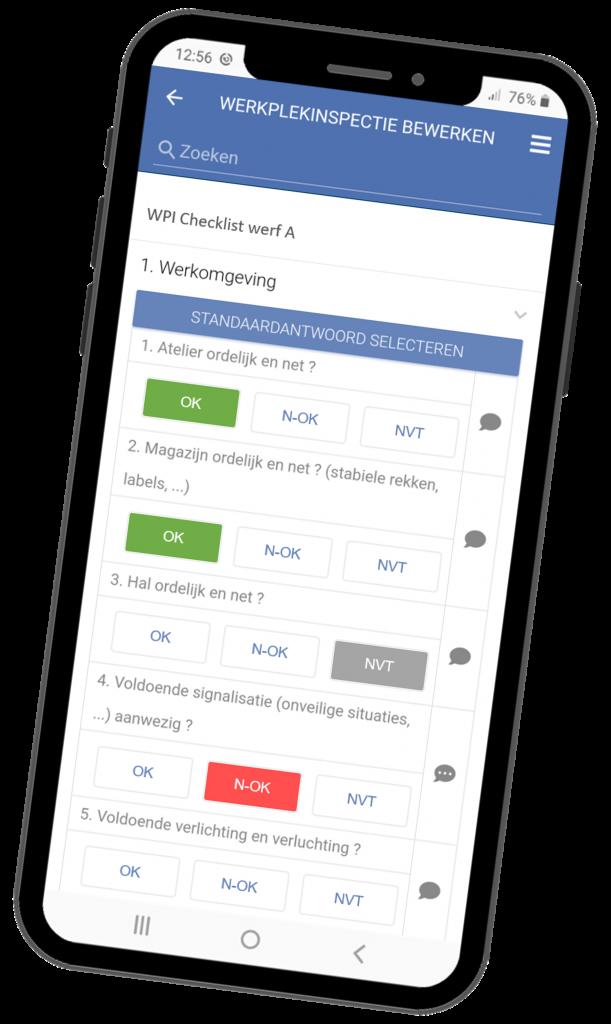 VCA-Online preview werkplekinspectie app smartphone