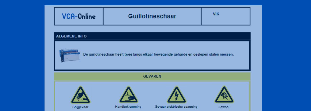 VCA-Online sample VIK guillotineschaar