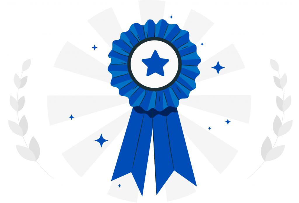 winner ribbon with stars